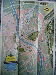 Stadtplan Hotelplan Salzburg 1956