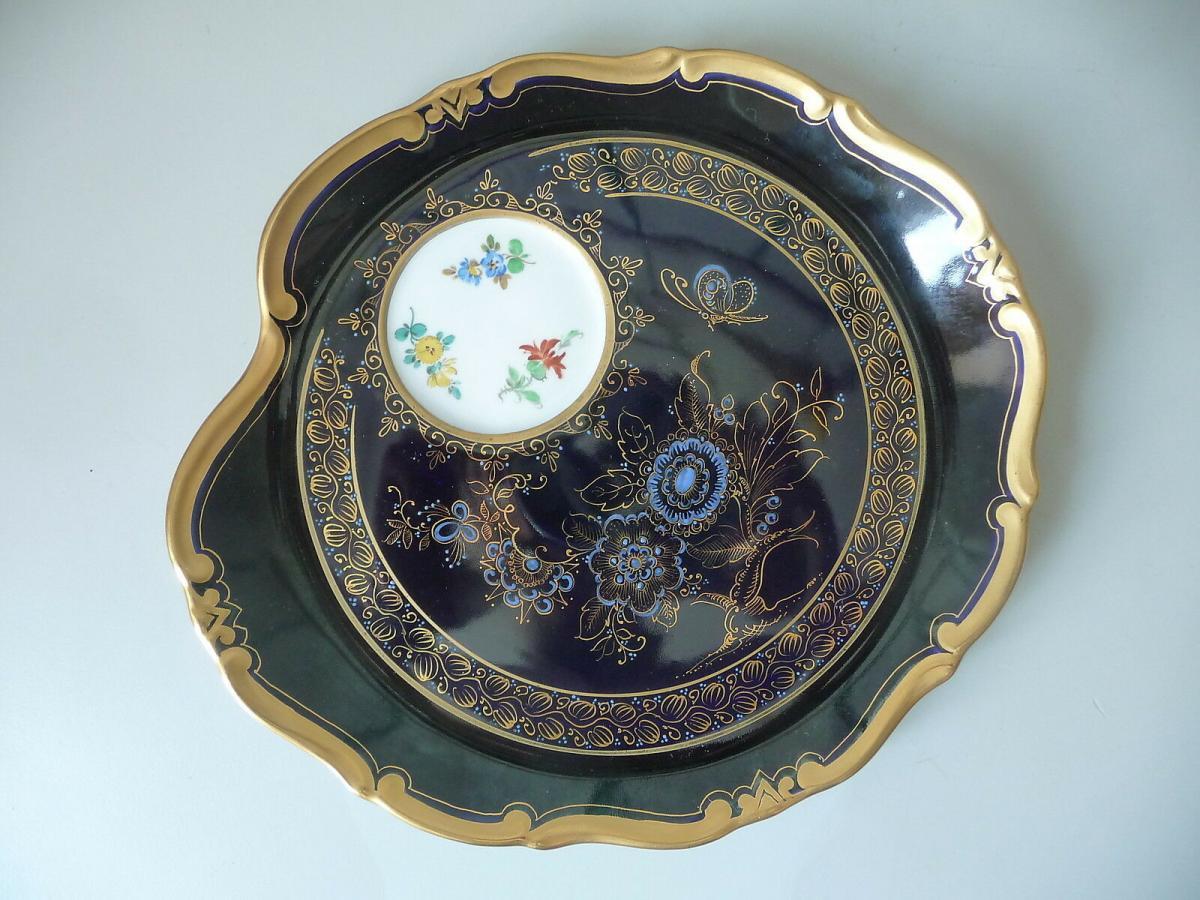 Seltenes Tablett Servierteller / Kobaltblau Weimar Atelierkunst Porzellan 0
