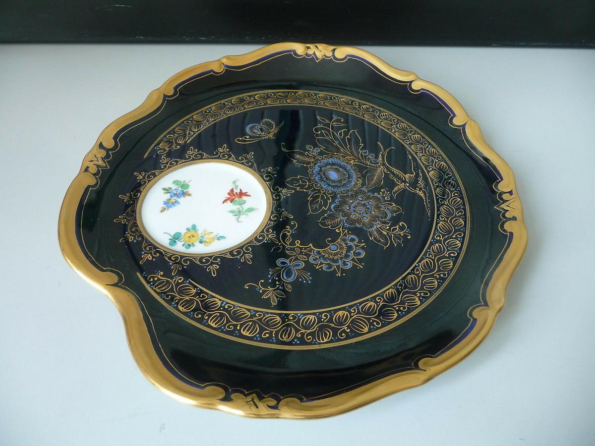 Seltenes Tablett Servierteller / Kobaltblau Weimar Atelierkunst Porzellan 1