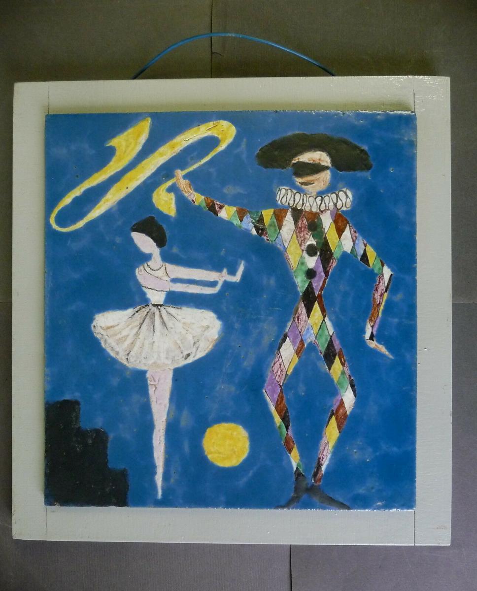 Fliesenbild Mosaik? Harlekin mit Tänzerin Tanzendes Paar im Mondschein 0