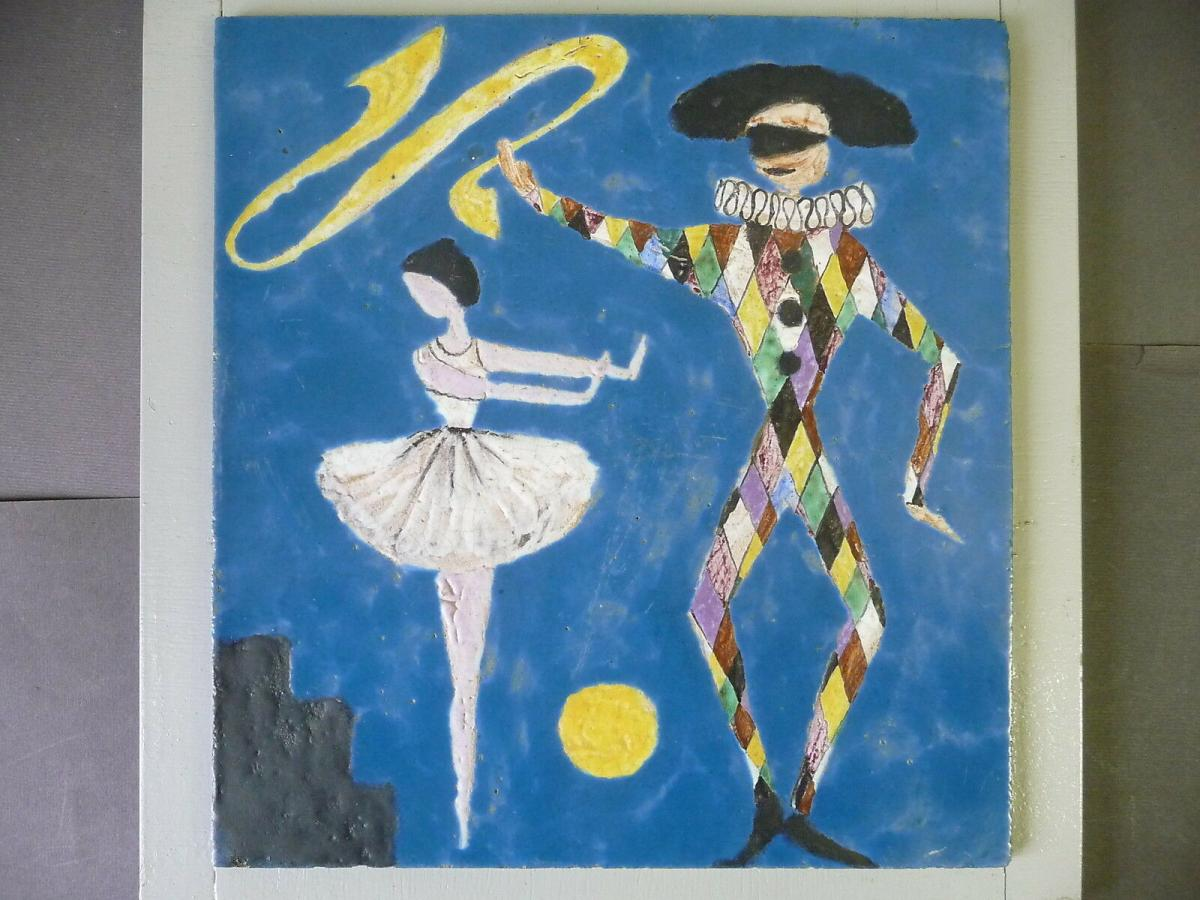 Fliesenbild Mosaik? Harlekin mit Tänzerin Tanzendes Paar im Mondschein 1