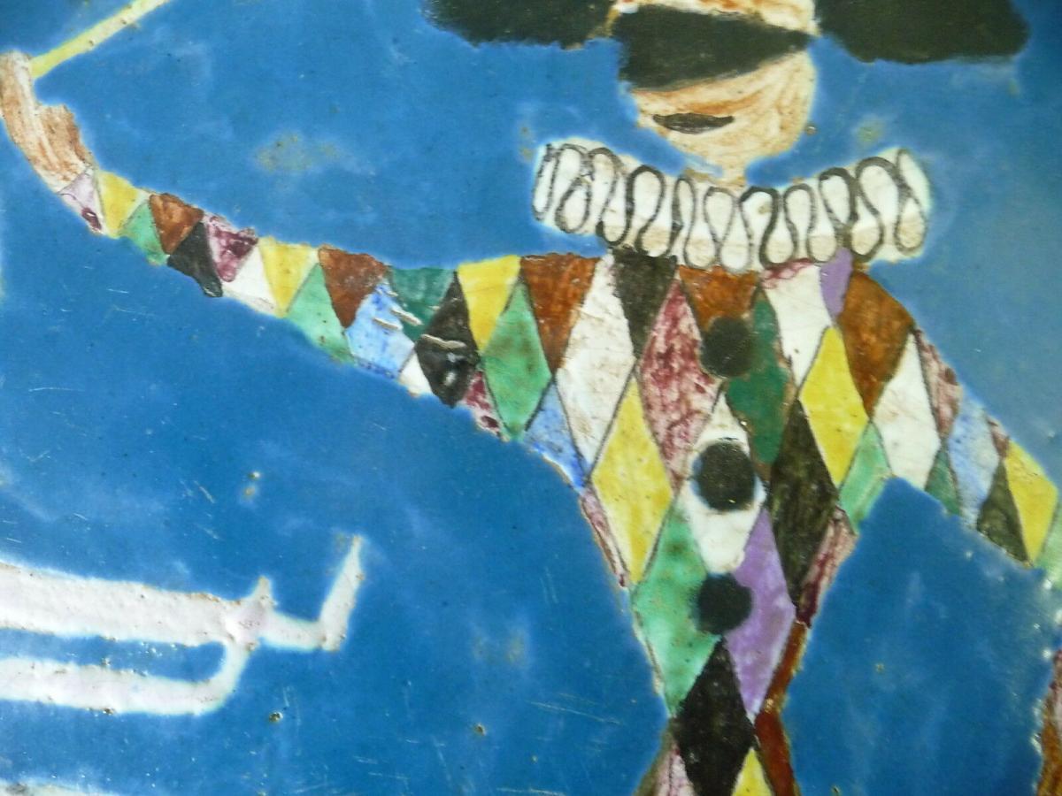 Fliesenbild Mosaik? Harlekin mit Tänzerin Tanzendes Paar im Mondschein 2