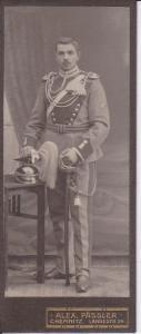 Orig. Foto Kabinettfoto CdV Soldat Uniform Schützenschnur Helmbusch Chemnitz