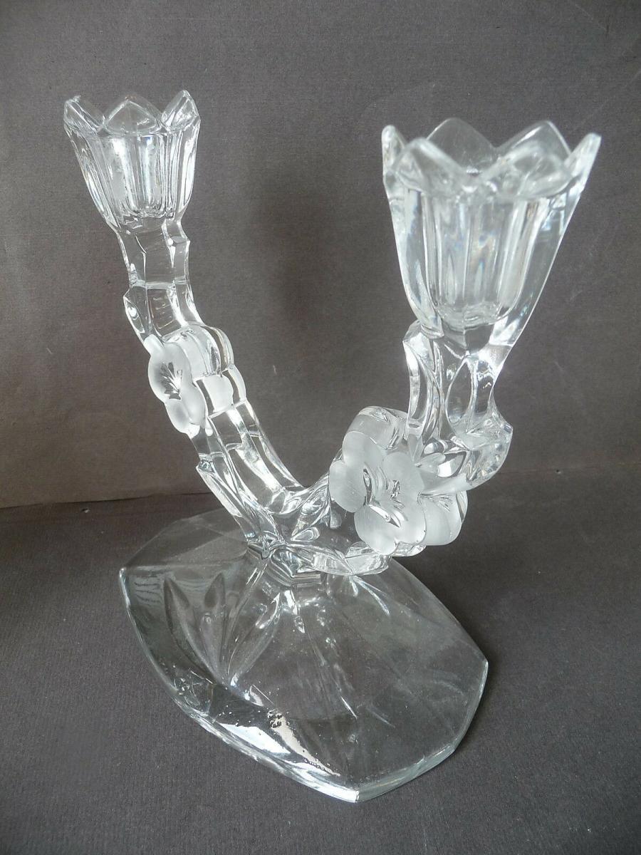 Kerzenhalter Kerzenleuchter zweiarmig aus Glas 1