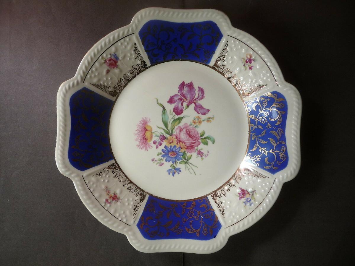 Schöner Zierteller Blumendekor weiß-blau / Schirnding Porzellan 0