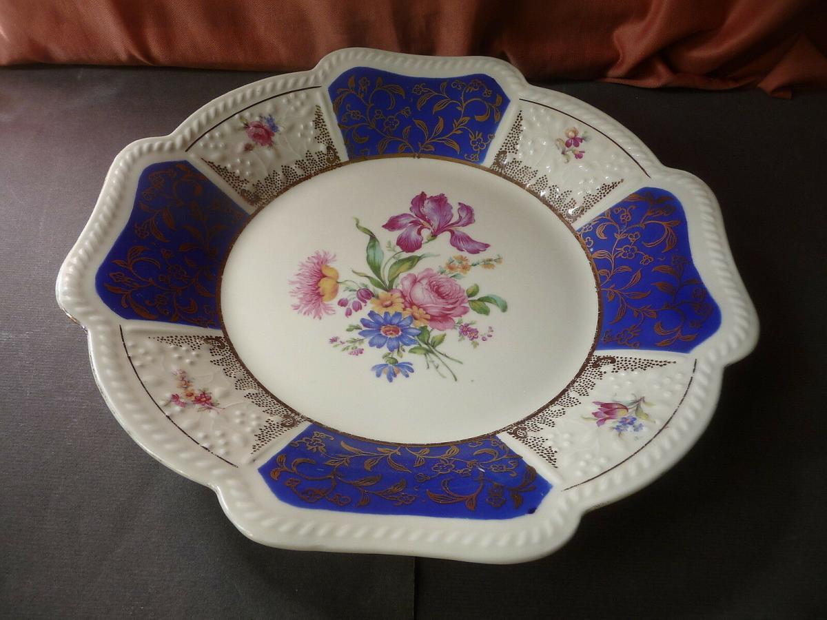 Schöner Zierteller Blumendekor weiß-blau / Schirnding Porzellan 1