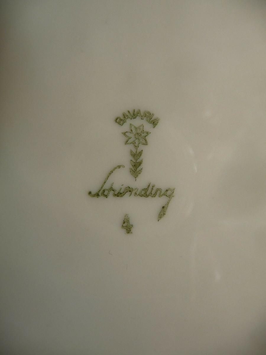 Schöner Zierteller Blumendekor weiß-blau / Schirnding Porzellan 2