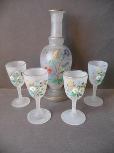Set Karaffe + 4 Gläser satiniert mit Blumendekor handbemalt
