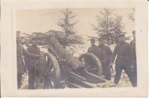 Orig. Foto Soldaten mit Kanone Granate / Baranowitschi Baranawitschy WK I 1916