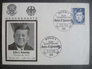 Gedenkkarte John F. Kennedy Erster Todestag Bonn 1964