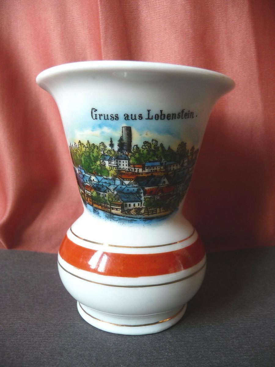 Andenkenvase Gruss aus Lobenstein Stadtansicht / Deesbach Porzellan 0
