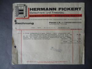 Orig. Rechnung Fa. Hermann Fickert Geldschrank u. Tresorbau Plauen Vogtland 1937
