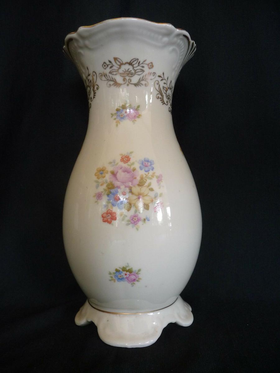 Schöne Porzellanvase Blumendekor Golddekor 0