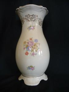 Schöne Porzellanvase Blumendekor Golddekor