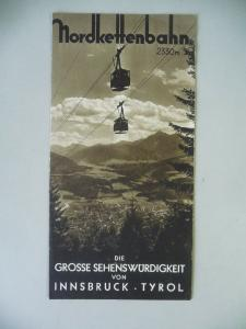 Reiseprospekt Nordkettenbahn Innsbruck Tirol ca. 1936