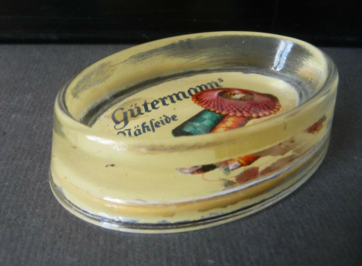 Glasablage Schale mit Reklame Gütermanns Nähseide 0