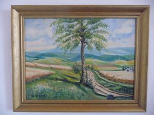 Gemälde Landschaftsbild Baum Vogtland? / W. Braun