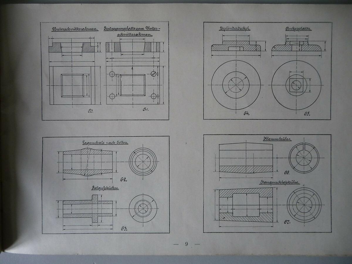 Heft Liste B - Modelle für grundlegendes Maschinenzeichnen Vorlagen 1928 1