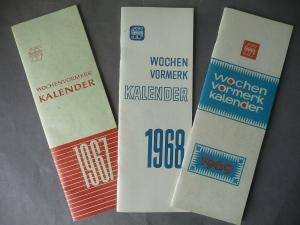 3 x Wochen-Vormerkkalender 1967-69 / VEB Hermes Halle DDR