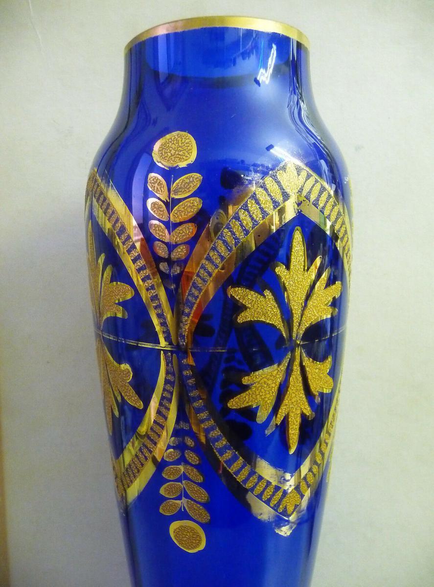 Prächtige blaue Vase mit Golddekor 45 cm hoch 1