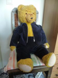 Großer alter Teddybär mit blauer Cordjacke und Hose