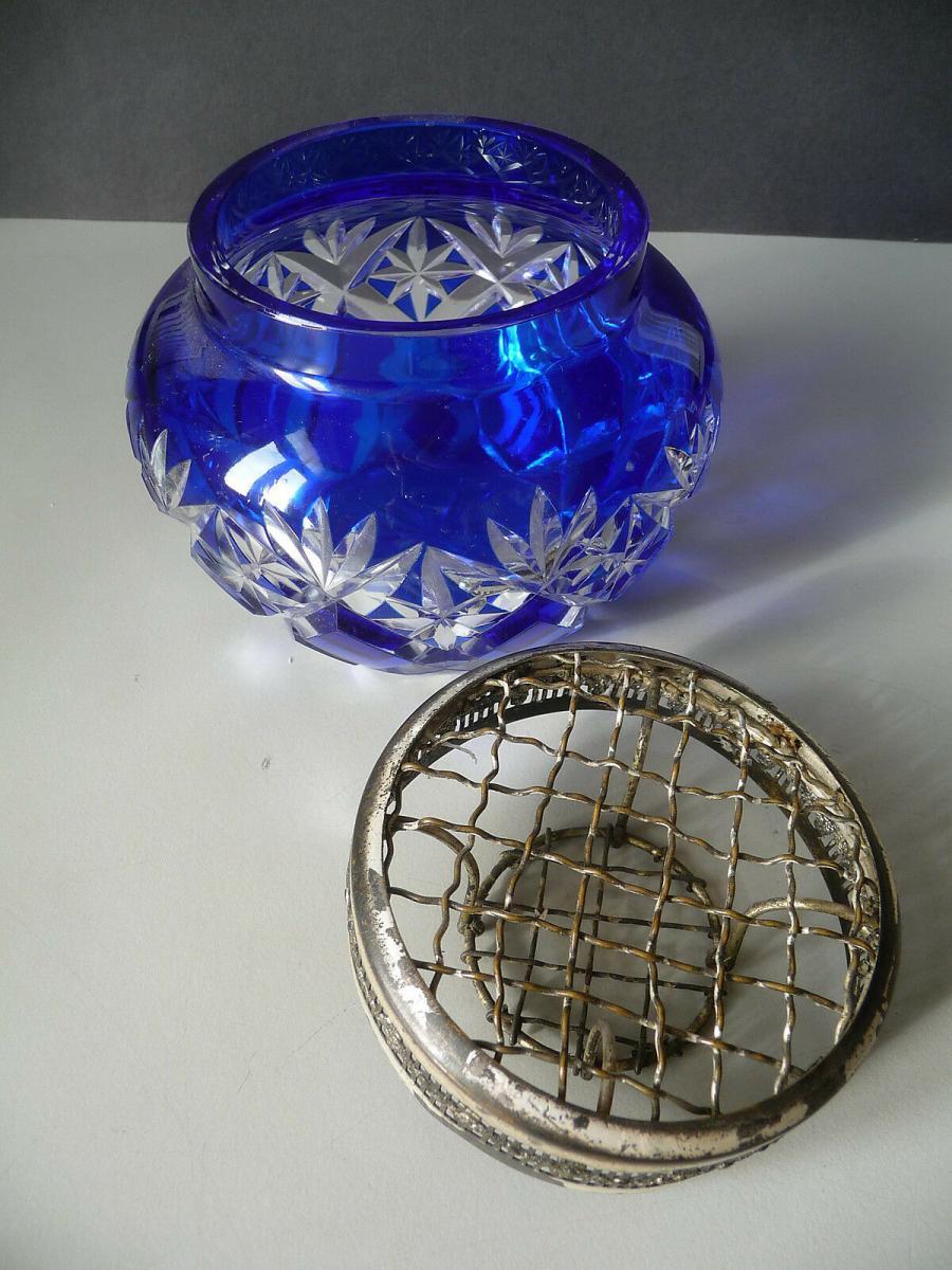 Glasdose blau mit Metallaufsatz Einsatz Gitter 1