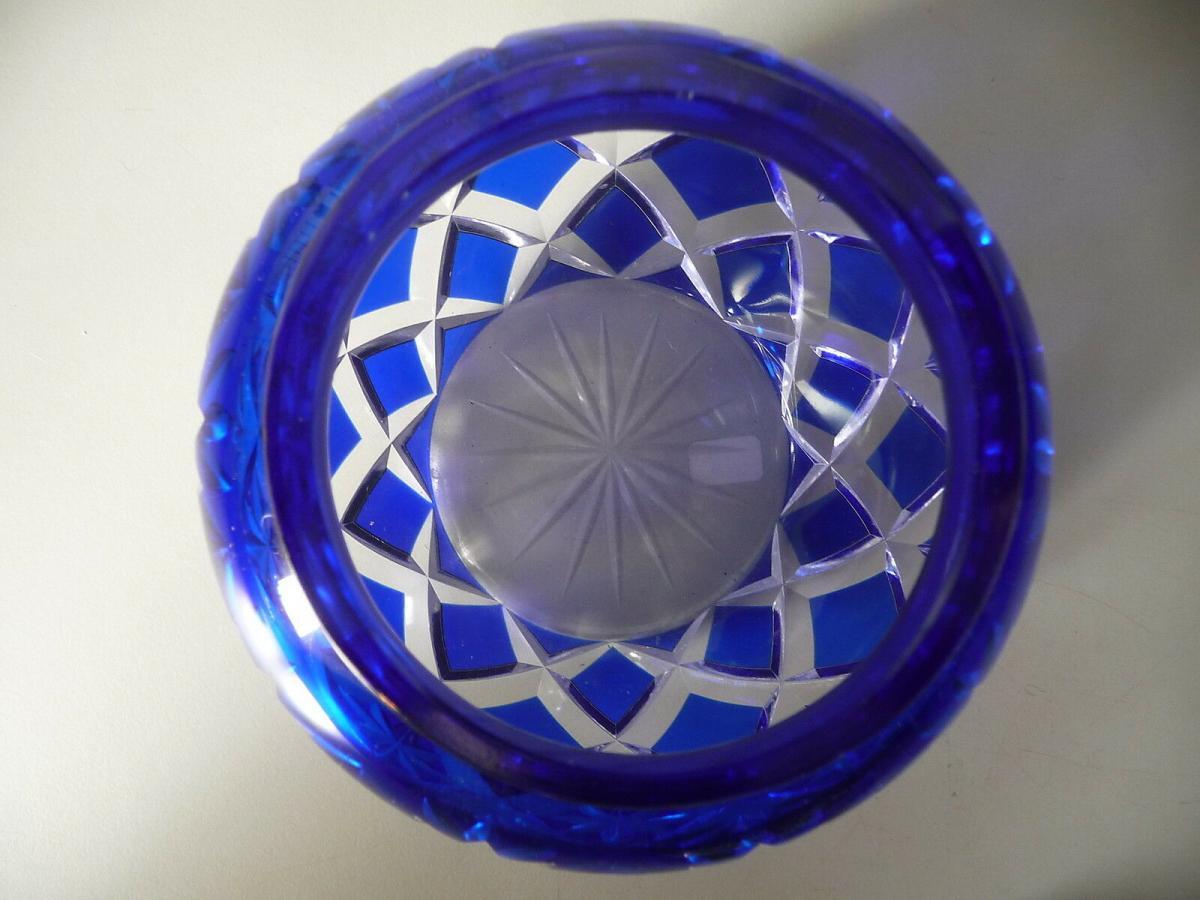 Glasdose blau mit Metallaufsatz Einsatz Gitter 2