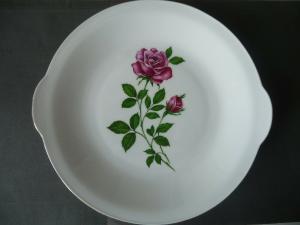 Großer Zierteller mit roter Rose / Eschenbach Porzellan