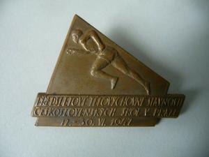 Abzeichen Odznak Predsletove telovychovne slavnosti / Schulsport Prag 1947