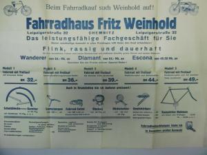 Reklameplakat mit Tourenkarte Fahrradhaus Fritz Weinhold Chemnitz ca. 1940
