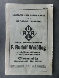 Landkarte Uniti-Fernstraßenkarte Großdeutschland ca. 1938