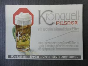 Reklame-Postkarte Kronquell-Pilsner / Wetzstein-Bräu Oelsnitz Vogtland