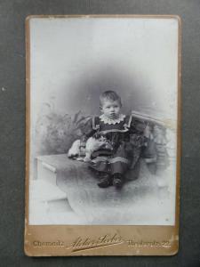 Originalfoto Kabinettkarte CDV Kind Junge Knabe mit Katze Chemnitz