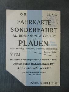 Sonder-Fahrschein Karneval Fasching Plauen Vogtland 1952