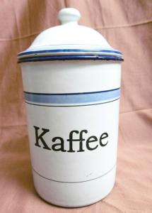 Kaffeedose aus Emaille weiß-blau