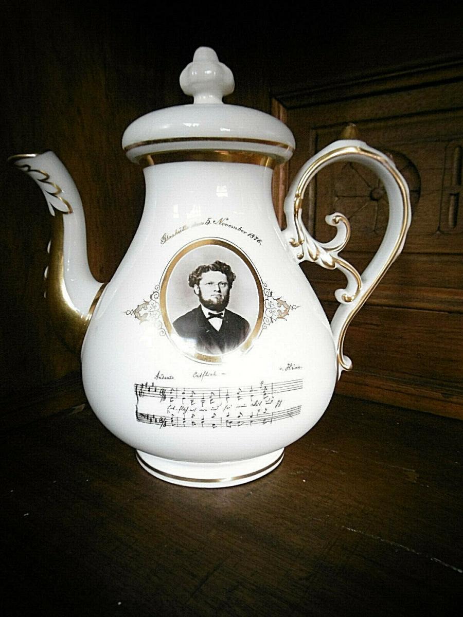 Wunderschöne, seltene Porzellankanne mit Notenzeilen Heine (aus 1876) 2
