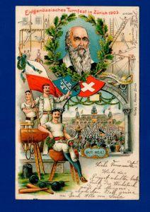 Künstlerkarte zum Eidgenössischen Turnfest 1903 in Zürich