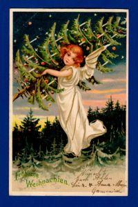 Antike Weihnachtskarte / Weltpostverein / 1903 gelaufen