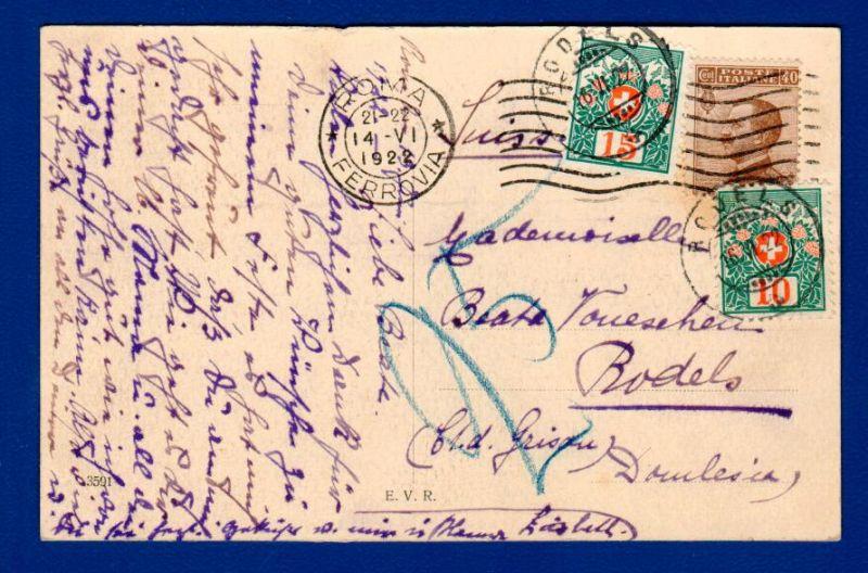 Schweiz Nachporto auf Italienkarte / 1922