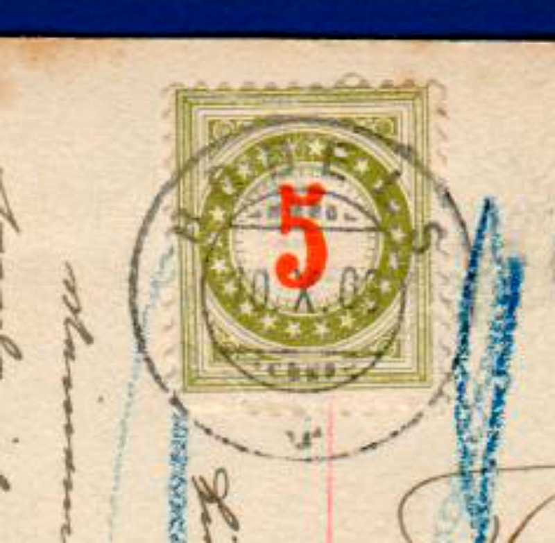Schweiz Nachporto auf Ansichtskarte / 1909
