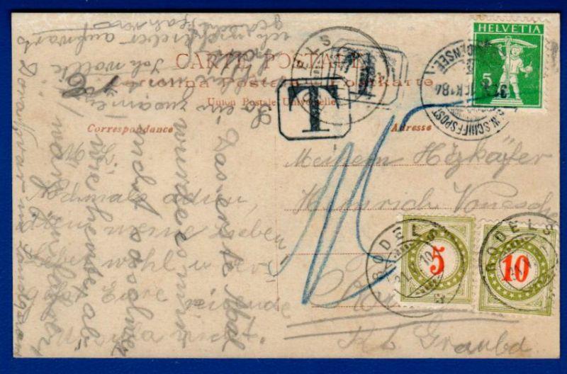 Schweiz / Nachporto 5 Rappen + 10 Rappen + Frankatur 5 Rappen / auf Ansichtskarte 1910