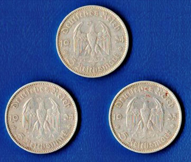 3 Stück Silbermünzen / Deutsches Reich 1934 + 1935 / Garnisonskirche
