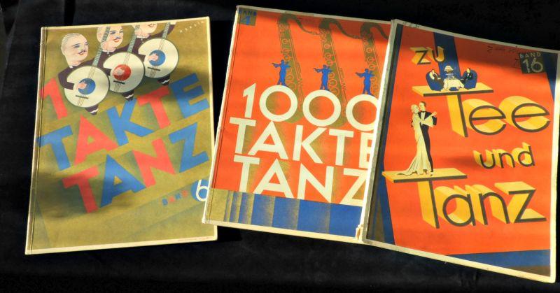 3 Notenhefte um 1930 / 1000 Takte Tanz und zu Tee und Tanz/ Populäre Tanzmusik dieser Zeit