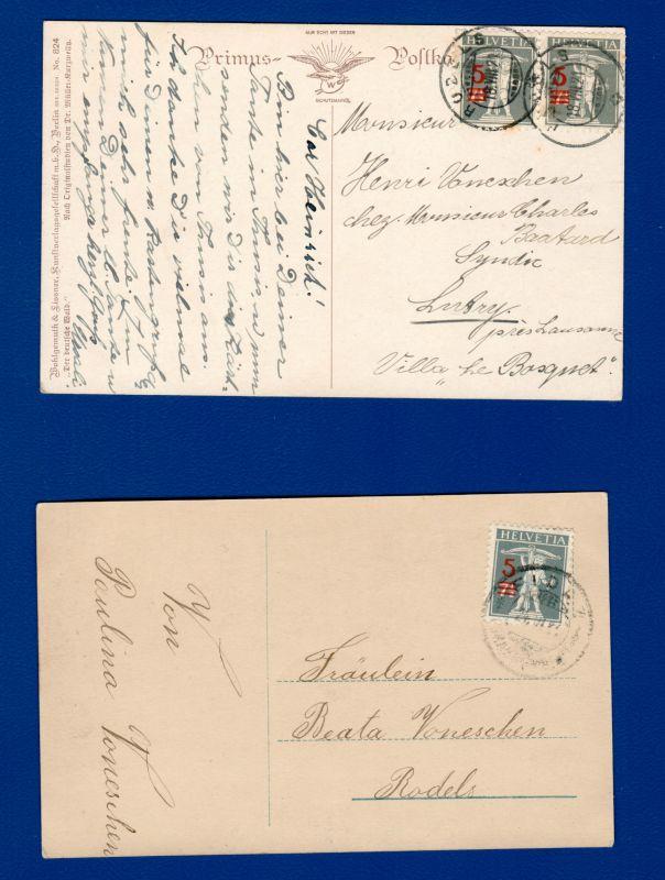 1921 / Tellknabe, 3 Aufbrauchmarken 7 1/2 auf 5 Rappen /  Mi CH 158, Zumstein 148 II, / gestempelt auf AK 0