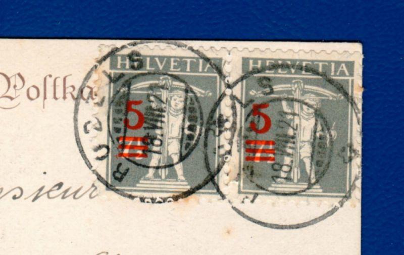 1921 / Tellknabe, 3 Aufbrauchmarken 7 1/2 auf 5 Rappen /  Mi CH 158, Zumstein 148 II, / gestempelt auf AK 1