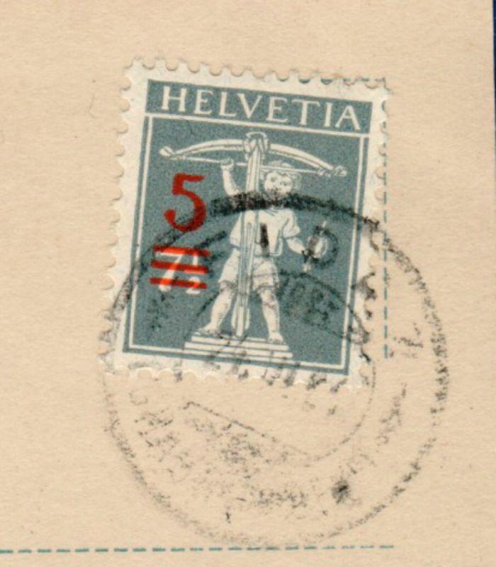 1921 / Tellknabe, 3 Aufbrauchmarken 7 1/2 auf 5 Rappen /  Mi CH 158, Zumstein 148 II, / gestempelt auf AK 2