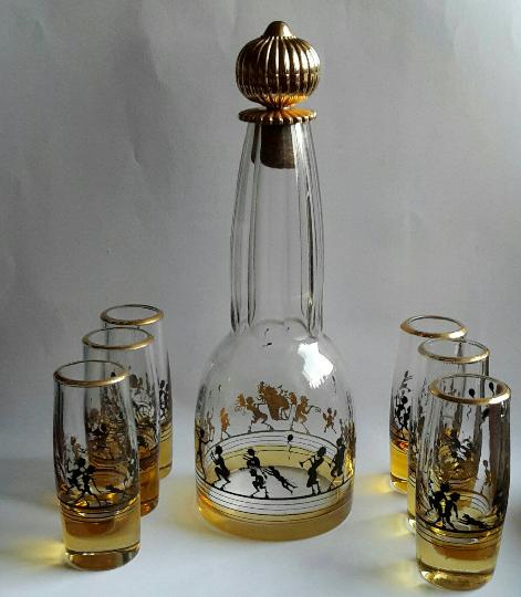 Likörservice Glas, antik, Art Deco, Jugendstil, Karaffe + 6 Gläser, Steinschönau, Adolf Beckert um 1915, Schwarzlotmalerei,