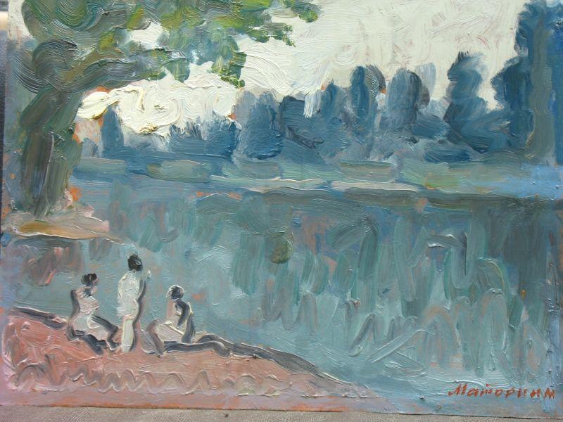 M. A. Matorin Badene am See 1992 Öl Hartfaser