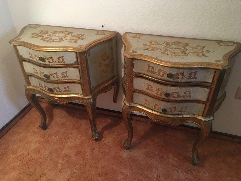 Zwei original antike Nachttische / Schränkchen - Louis seize um 1875