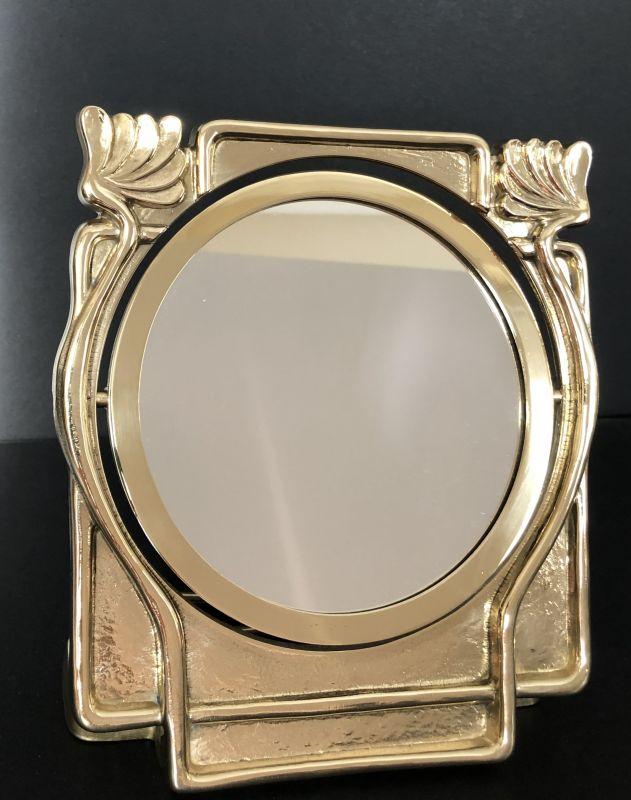 Messing Spiegel Schminkspiegel kippbar im Jugendstil Design